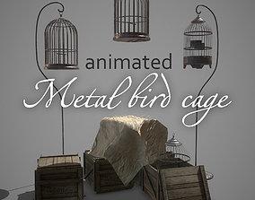 3D asset Metal bird cage animated pbr