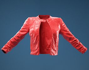 Tiny Black Leather Jacket Open 3D model