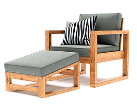 3D model Hudson Chair and Ottoman