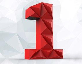 3D printable model Lowpoly digit 1