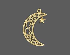 moon and star muslim pendant 3D print model