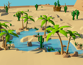 Lowpoly Desert Game Environment Assets - Oasi game-ready 1
