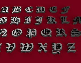 OLD ENGLISH font uppercase and lowercase 3D letters STL