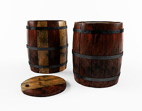 Wooden barrel container 3D model