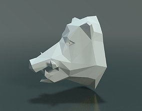 Boar Head Low Poly 3D printable model art