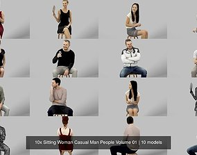 3D 10x Sitting Woman Casual Man People Volume 01