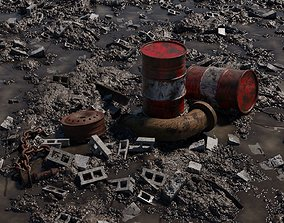 Muddy Junkyard Blender Scene with Props and 3D model