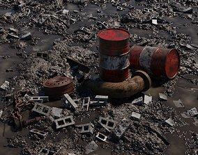 3D model Muddy Junkyard Blender Scene with Props and