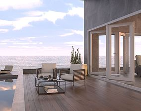 Ocean View Exterior Scene - Patio with Ocean View 3D model
