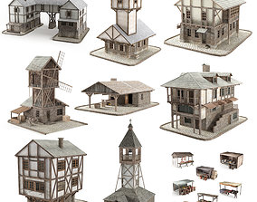 3d model of a medieval city game-ready