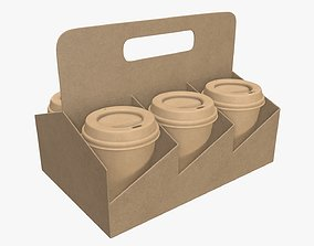 Biodegradable medium paper coffee cup with lid and 3D