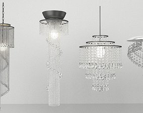 3D Set of crystal chandeliers