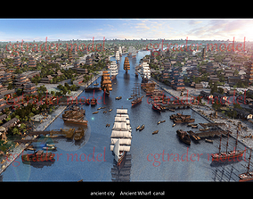 River Wharf in Ancient Chinese City 3D asset