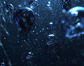 3D model animated jellyfish drop