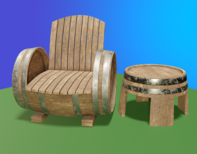 3D model Barrel Chair and Table