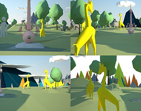 3D model garden of delights low poly