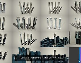 3D model Futuristic Isometric City Collection 01