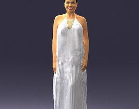 Girl with braid long dress 0456 3D print ready