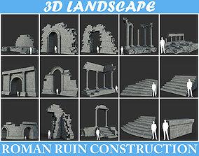 Low poly Ancient Roman Ruin Construction Pack 3D model 3