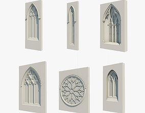 6 Medieval Gothic Windows 3D model gothic
