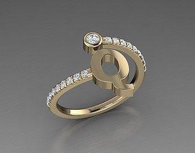 3D print model Jewelry Alphabet Diamond Ring Q