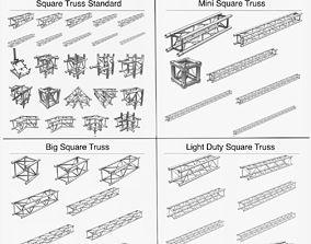 Square Light Trusses Collection 50 Modular 3D model