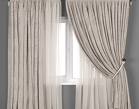 Beige linen curtains with a garter on a rope with beige 3D