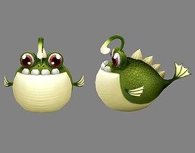 Cartoon blowfish - anglerfish 3D model
