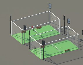 3D asset Low Poly Tennis Courts