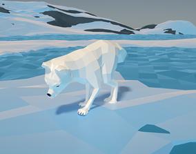 Snow fox stylized lowpoly 3D model