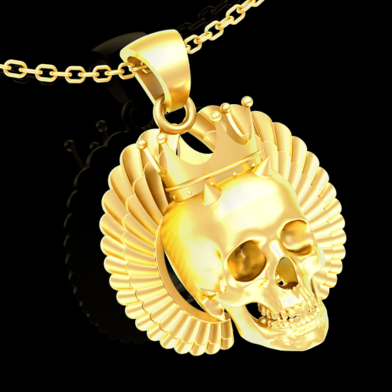 Royal Skull wing Sculpture pendant jewelry gold necklace 3D print model