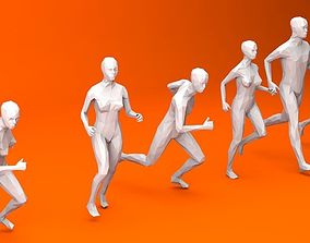 3D model 6 Running People Minimalist