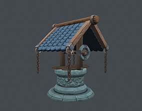 3D asset low-poly Stone well