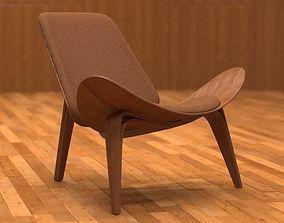 3D model Hans Wegner CH 07 easy chair table