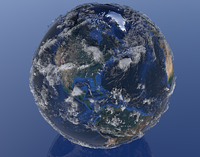 10K Relief Earth 3D Model - Bathymetry Texture animated