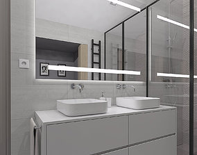 3D Amazing cozy shower room with pitched ceilings