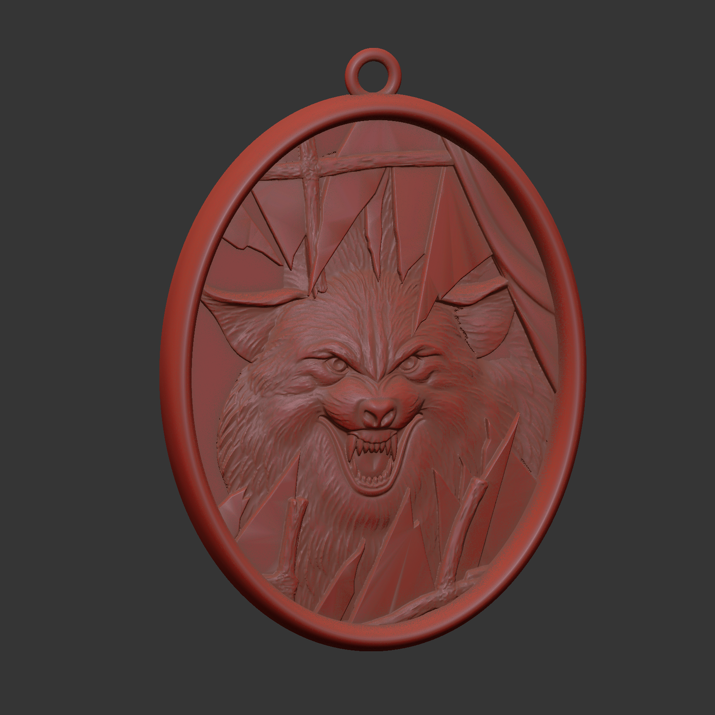 Wolf and broken glass pendant jewelry gold necklace medallion 3D print model