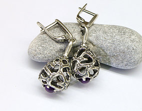 Dangle earrings with organic pattern 3D printable model