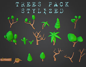3D asset Stylized Trees Pack