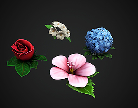 4 Flowers Collection - Rose Jasmin Hortensia 3D model