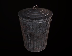 3D model game-ready Old Metalic Trashcan