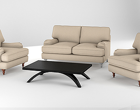 Realistic Sofa Collection Arm Chair and Two Seat Sofa 3D