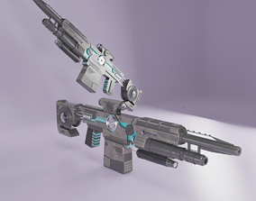 Blaster Rifle Low-poly 3D model Best Gun PBR