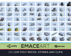 Low Poly Nature Project - 100 Rocks Stones and 3D asset