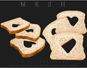 3 Slice of Bread Heart 3D asset