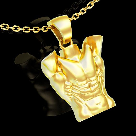 6pack bodybuilding symbol pendant jewelry gold necklace 3D print model