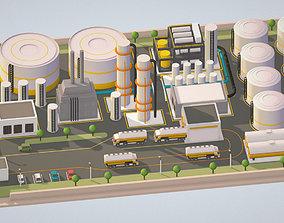 3D asset Isometric Complex Crude Oil Processing Plant