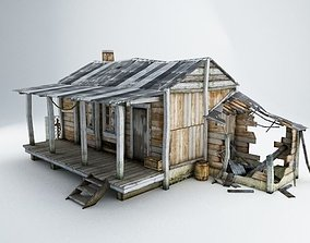 3D model low-poly Old Village House