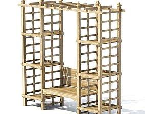 Wooden Garden Alcove 3D