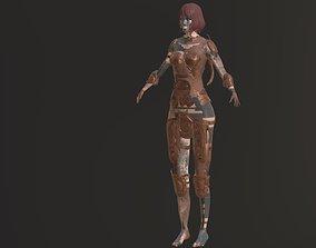 Barbarian girl amor 3D asset knight